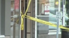 Caution tape surrounds crime scene