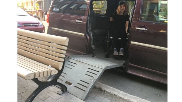 The city of Montreal installed a bench beside a parking space for the disabled, making it impossible for Stephanie Chipeur to open a ramp so she can get out of her vehicle in a wheelchair