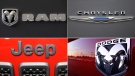 Logos, clockwise from top left: Ram, Chrysler, Dodge, Jeep (AP)