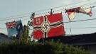 A German swastika flag from the Second World War hangs over the yard of a Burnaby, B.C. home.