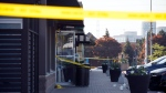 Police tape and medical material can be seen at the scene of an explosion at a restaurant in Mississauga, Ont. on Friday, May 25, 2018. THE CANADIAN PRESS/Cole Burston