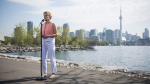 Ontario Liberal Leader Kathleen Wynne speaks to reporters at Ontario Place in Toronto, on May 25, 2018. (Marta Iwanek / THE CANADIAN PRESS)