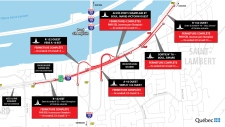 Closures around the south end of the Champlain Bridge for the weekend of May 25, 2018