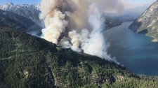 A wildfire burning about 35 kilometres west of Lillooet has forced the evacuation of two homes. (B.C. Wildfire Service)