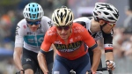 Domenico Pozzovivo leads Tom Dumoulin, right, and Chris Froome during the 18th stage of the Giro d'Italia cycling race on May 24, 2018. (Daniel Dal Zennaro / ANSA via AP)