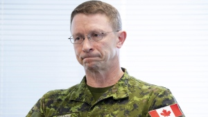 Four cadets from the Royal Military College in Saint-Jean, Que., have been accused of desecrating a Qur'an with bacon and bodily fluids during the Easter long weekend, The Canadian Press has learned. Lt.-Gen. Charles Lamarre speaks during an interview in Ottawa on May 25, 2018. (Justin Tang / THE CANADIAN PRESS)