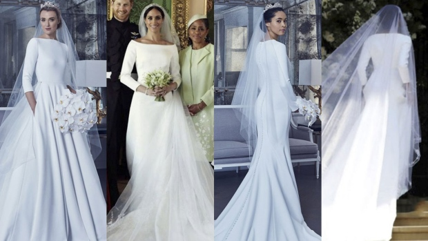 ca3e31332ef Romona Keveza s designs for Meghan Markle s wedding gown are compared with  the dress she chose in this compilation photo. (Romona Keveza Collection)