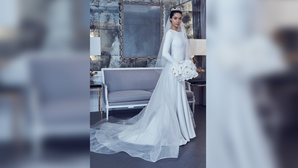 One of Romona Keveza's wedding gown designs is modelled ahead of the royal wedding. (Romona Keveza)