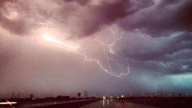 Storm up close while driving to Stonewall. Photo by Patricia Chartier.
