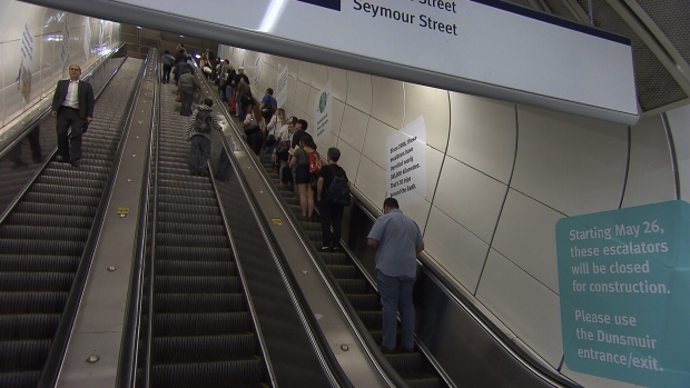 SkyTrain commuters will be feeling the squeeze at Granville Station starting Saturday as years-long escalator replacement work gets underway.