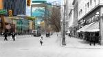 Supplied photo showing Portage Ave and Carlton Street on the day at the outbreak of World War I in 1914 blended with a recent photo. Photos on the app fade from past to present. (On This Spot & Virtual Heritage Winnipeg 02-091)