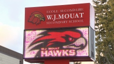 The sign at Abbotsford's W.J. Mouat Secondary School is seen in this undated CTV News file image.