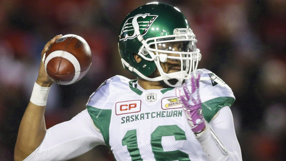 Saskatchewan Roughriders quarterback Brandon Bridge throws the ball during first half CFL football action against the Calgary Stampeders in Calgary, Friday, Oct. 20, 2017. (THE CANADIAN PRESS/Jeff McIntosh)