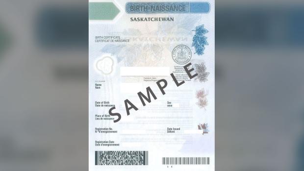 Saskatchewan birth certificate