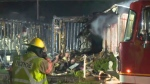 Over 40 firefighters assisted in the intervention, but both mobile homes were ultimately destroyed. (CTV Montreal)