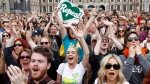 "People from the ""Yes"" campaign react as the results of the Irish referendum on the 8th Amendment of the Irish Constitution are heard, at Dublin Castle, in Dublin, Ireland, Saturday May 26, 2018.  (AP Photo/Peter Morrison)"