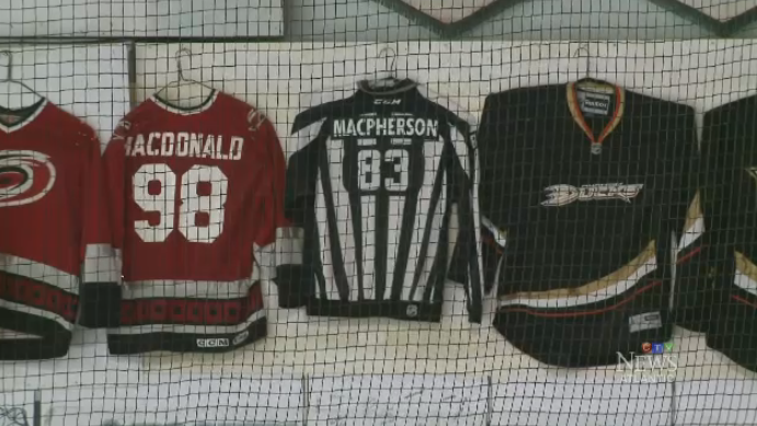 Matt MacPherson's linesman jersey hangs in the rafters at the Antigonish arena, among prominent players who have made it to the NHL from the area.