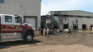 Multiple fire departments were called to respond to a fire at a warehouse in Redcliff on Saturday morning.
