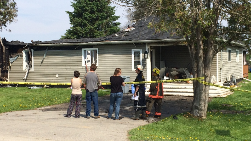 An early morning fire destroyed two homes in the community of Baxter on May 26, 2018. (CTV Barrie)