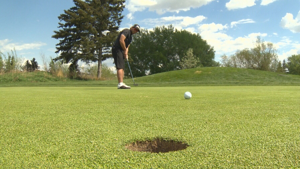 Visually impaired golfer Kiefer Jones takes a putt. Jones will be heading to Italy in October for the 2018 World Blind Golf Championships. (CTV Edmonton)
