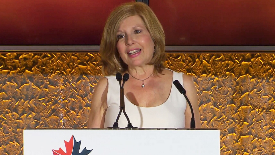CTV's Sandie Rinaldo speaks at the RTDNA Awards as she accepts a lifetime achievement award on Saturday, May 26, 2018.