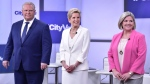 The third and final televised debate ahead of Ontario's June 7th election will offer voters on Sunday one last chance to size up the three main party leaders side by side as they vie to lead the province for the next four years. Ontario Liberal Leader Kathleen Wynne, centre, Ontario PC Party Leader Doug Ford, left, and NDP Leader Andrea Horwath take part in the Ontario Leaders debate in Toronto on Monday, May 7, 2018. THE CANADIAN PRESS/Frank Gunn