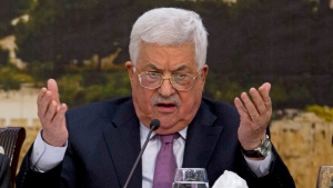 File - In this Jan. 14, 2018, file photo, Palestinian President Mahmoud Abbas speaks during a meeting with the Palestinian Central Council in the West Bank city of Ramallah. (AP Photo/Majdi Mohammed, File)