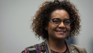 Secretary General of La Francophonie Michaelle Jean walks to the podium to address a youth as peace builders working session at the 2017 United Nations Peacekeeping Defence Ministerial conference in Vancouver, B.C., on Tuesday November 14, 2017.Praise flowed in from politicians of all stripes when former governor general Jean was named the first woman leader of la Francophonie four years ago, but her support appears less unanimous as she prepares to seek another term. THE CANADIAN PRESS/Darryl Dyck