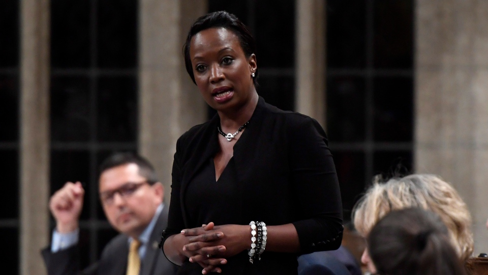 Parliamentary Secretary to the Minister of International Development Celina Caesar-Chavannes rises during Question Period in the House of Commons on Parliament Hill in Ottawa on Friday, May 25, 2018. (THE CANADIAN PRESS/Justin Tang)
