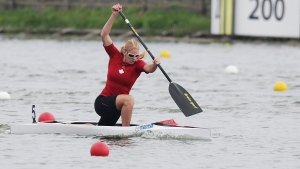 Laurence Vincent-Lapointe of Canada competes at the C1 women 200m final of the ICF Canoe Sprint World Championships 2014 in Moscow, Russia, Sunday, Aug. 10, 2014. (AP Photo/Pavel Golovkin)