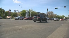A cyclist was struck at this Whyte Avenue intersection while crossing diagonally on Sunday, May 27, 2018.