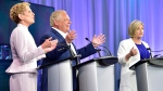 Ontario Liberal Leader Kathleen Wynne, left to right, Ontario Progressive Conservative Leader Doug Ford and Ontario NDP Leader Andrea Horwath participate during the third and final televised debate of the provincial election campaign in Toronto, Sunday, May 27, 2018. THE CANADIAN PRESS/Frank Gunn