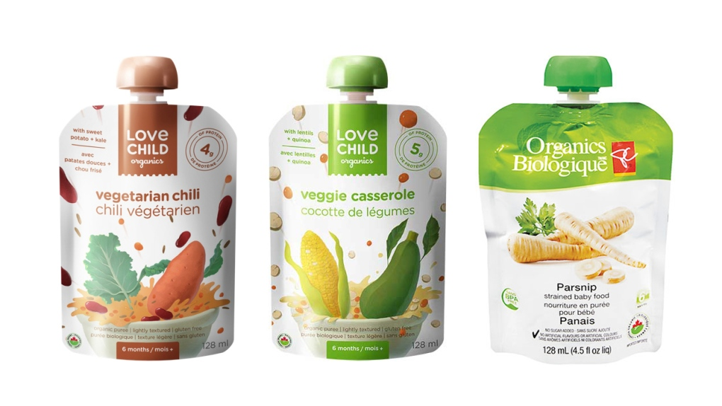Recalled baby food pouches
