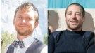 Dan Archbald, left, and Ryan Daley, right, were last seen leaving Ucluelet Small Craft Harbour on May 16, 2018 and found dead more than a month later.  (RCMP Handout)