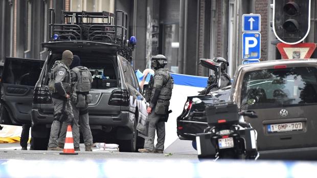Belgian Special Police at the scene of a shooting in Liege, Belgium, Tuesday, May 29, 2018. (AP Photo/Geert Vanden Wijngaert)