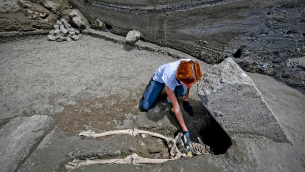 Skeleton of man possibly crushed running from lava found in Pompeii