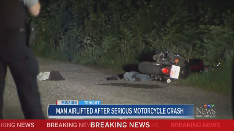 Man airlifted to hospital after motorcycle crash | CTV News