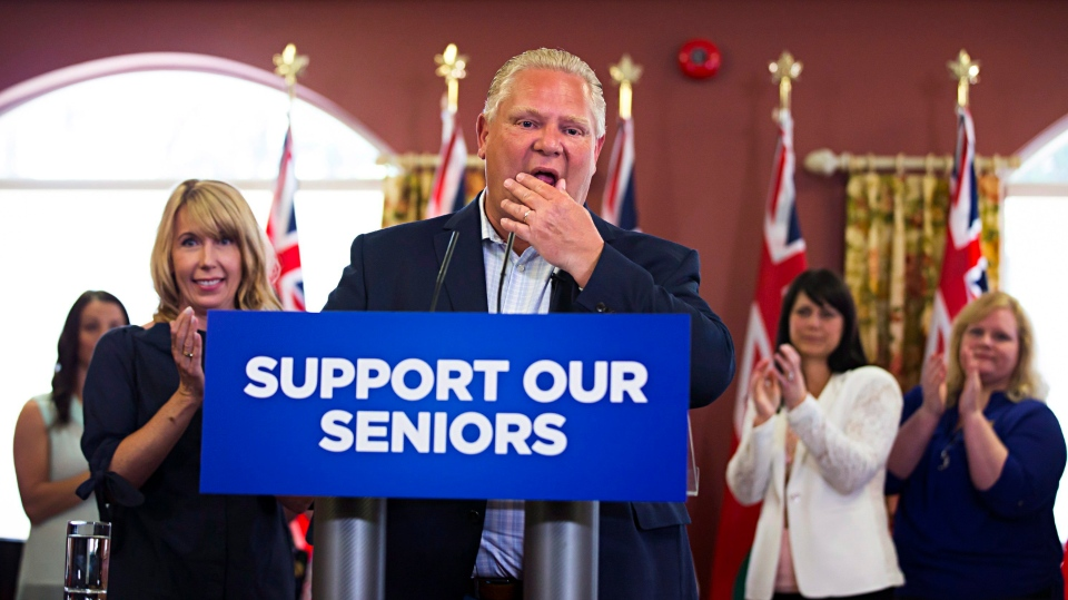 Ontario PC Leader Doug Ford speaks to residents during a campaign stop at Portal Village Retirement Home in Port Colborne, Ont., Tuesday, May 29, 2018. (THE CANADIAN PRESS/Aaron Lynett)