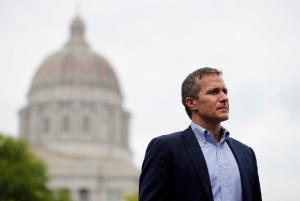 In this May 17, 2018 file photo, Missouri Gov. Eric Greitens looks on before speaking at an event near the capitol in Jefferson City, Mo. (AP Photo/Jeff Roberson, File)