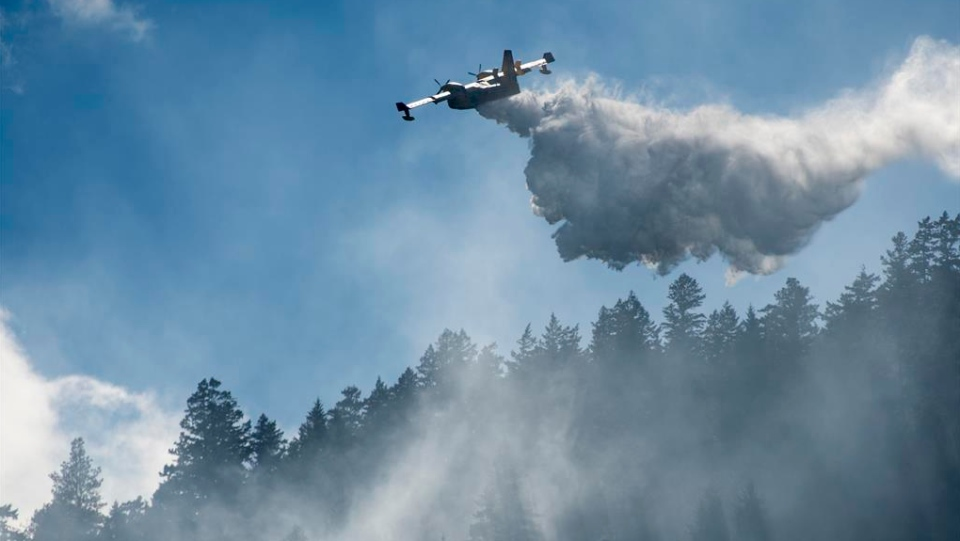 Air crews from the B.C. Wildfire Service fight a 500-hectare blaze burning near Anderson Lake, northeast of Whistler and Pemberton. (Submitted by Jorge Alvarez)