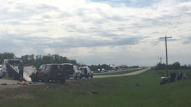 Two are dead and three are injured after a two-vehicle collision on Highway 16 and Range Road 224 on Tuesday, May 29, 2018.