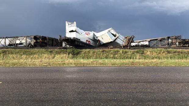 Train derailment near Rosser