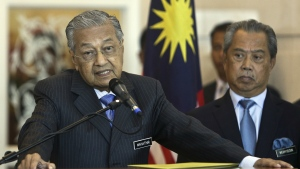 Malaysian Prime Minister Mahathir Mohamad speaks during a press conference after cabinet meeting in Putrajaya, Malaysia, Wednesday, May 30, 2018. (AP Photo/Sadiq Asyraf)