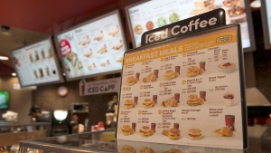 A breakfast menu, breakfast not being served at the time this image was taken, is displayed at a Tim Hortons restaurant in Toronto on Tuesday May 29, 2018. THE CANADIAN PRESS/Doug Ives