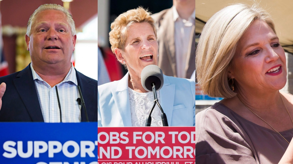 Ontario's party leaders campaign on May 29, 2018. (Aaron Lynett/Nathan Denette/Nathan Denette/THE CANADIAN PRESS)