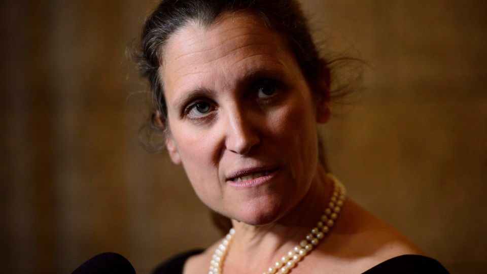 Minister of Foreign Affairs Chrystia Freeland speaks to reporters following a caucus meeting on Parliament Hill in Ottawa on Wednesday, May 30, 2018. THE CANADIAN PRESS/Sean Kilpatrick