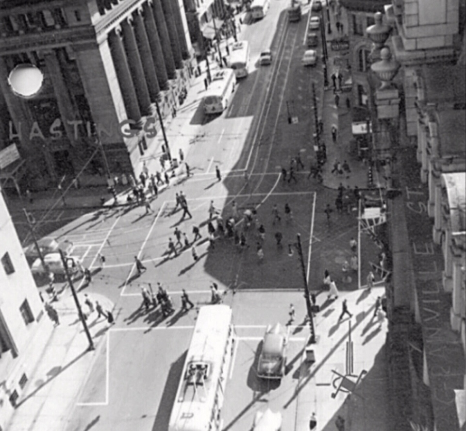 A scramble crossing is seen at Hastings and Granville streets in Vancouver in this archival photo from the 1950s.
