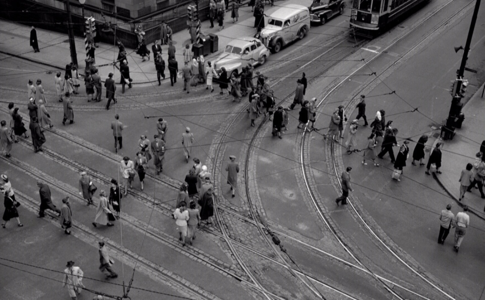 A scramble crossing is seen in Vancouver in this archival photo from the 1950s.