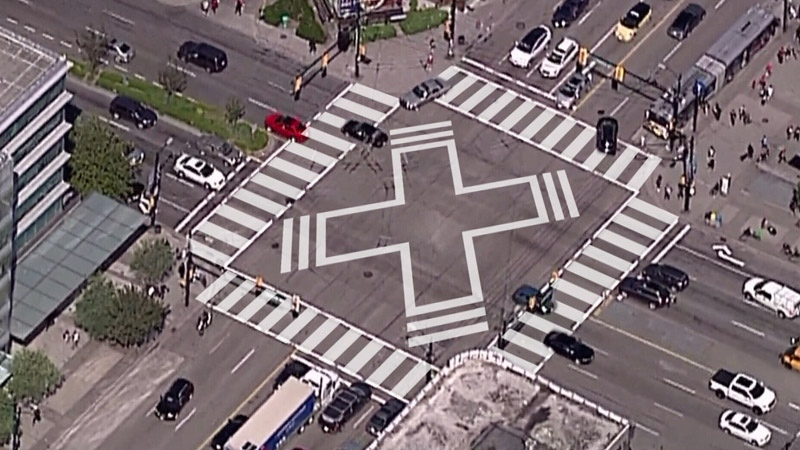File: Scramble crosswalk markings are superimposed over a photo of the intersection of Broadway and Cambie Street in Vancouver.