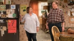 This image released by ABC shows Roseanne Barr, left, and John Goodman in a scene from the comedy series 'Roseanne.' (Adam Rose / ABC via AP)